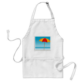 Sello del paraguas, de la playa y del océano delantal