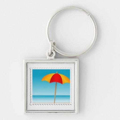 Sello del paraguas, de la playa y del océano llavero