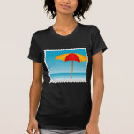 Sello del paraguas, de la playa y del océano camisetas