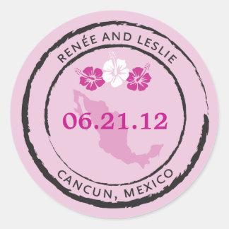 Sello del pasaporte de México con las flores del h Etiqueta