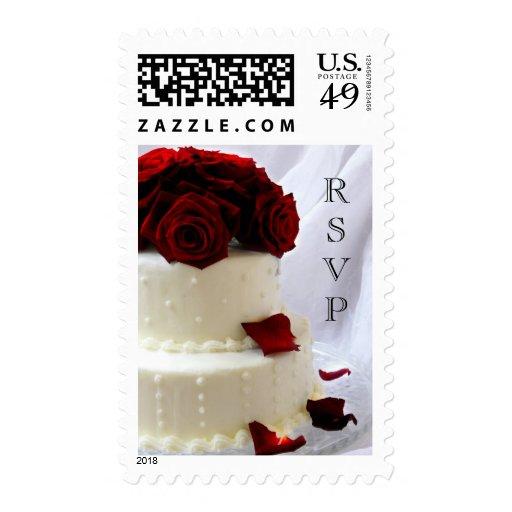 sello del pastel de bodas del rosa rojo del rsvp