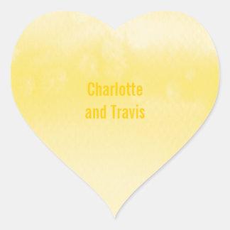 SELLO DEL PEGATINA:: amarillo de la acuarela del Pegatina En Forma De Corazón