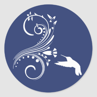 Sello del pegatina del sobre del colibrí del azul