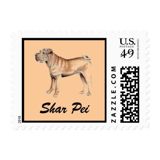 Sello del perro de Shar Pei para las letras