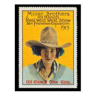 Sello del poster de la vaquera de 101 ranchos, #1, postales