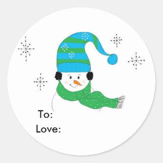 Sello del regalo del muñeco de nieve pegatina redonda