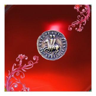 SELLO del rojo de rubíes de los CABALLEROS TEMPLAR Invitación