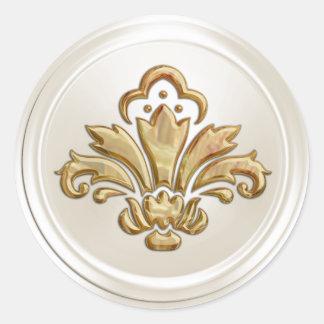 Sello del sobre de la flor de lis de la marfil y pegatina redonda