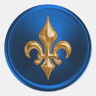 Sello del sobre de la flor de lis del azul y del pegatina redonda
