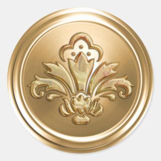 Sello del sobre de la flor de lis del oro pegatina redonda