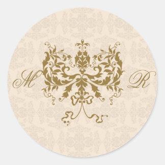 Sello del sobre de la inicial del damasco de la pegatina redonda