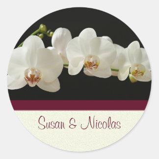 Sello del sobre de la orquídea - personalizado pegatina redonda