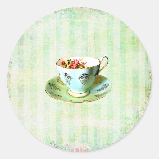Sello del sobre de la taza y del etiqueta redonda