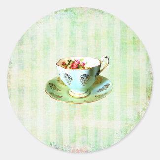 Sello del sobre de la taza y del pegatina redonda