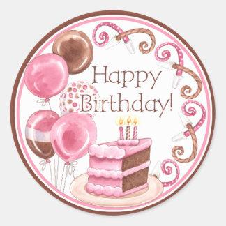 Sello del sobre de la torta de cumpleaños pegatina redonda