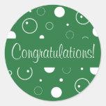 Sello del sobre de las burbujas de la enhorabuena etiquetas redondas
