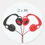 Sello del sobre de los auriculares del etiqueta redonda