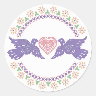 Sello del sobre de los Lovebirds Pegatina Redonda