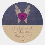 Sello del sobre de Purple Heart Pegatina Redonda