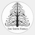Sello del sobre del árbol de navidad pegatinas redondas