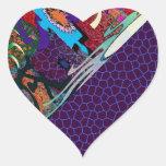 sello del sobre del arte de la pintada del color calcomanía de corazón personalizadas