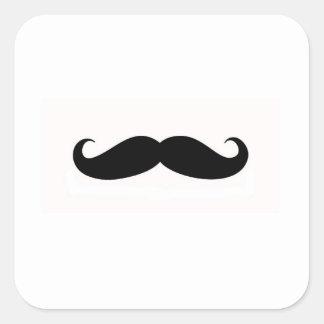 Sello del sobre del bigote pegatina cuadrada