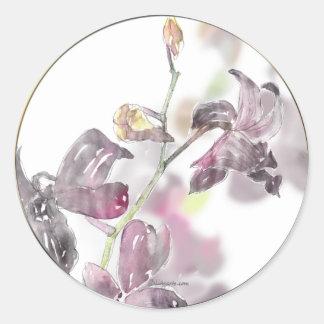 Sello del sobre del boda de la orquídea pegatina redonda