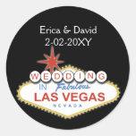 Sello del sobre del boda de Vegas Pegatina Redonda