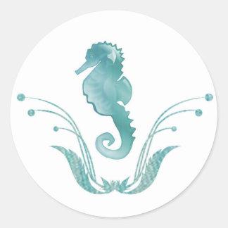 Sello del sobre del boda del caballo de mar etiquetas redondas