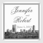 Sello del sobre del boda del destino de Boston Pegatina Cuadrada