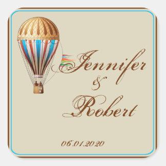 Sello del sobre del boda del globo del aire calcomania cuadradas personalizada