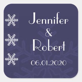 Sello del sobre del boda del invierno del copo de pegatinas cuadradas personalizadas