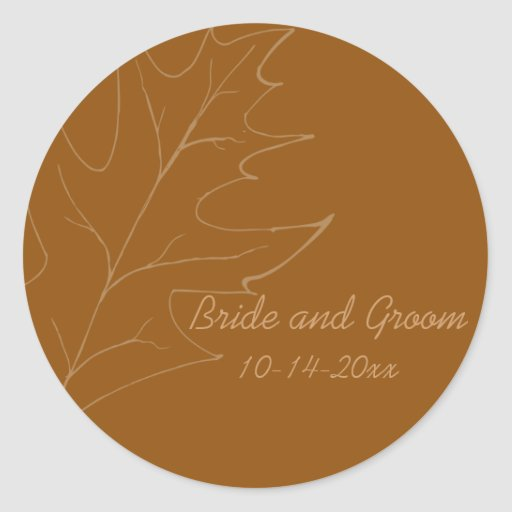 Sello del sobre del boda del otoño de la hoja del etiquetas redondas