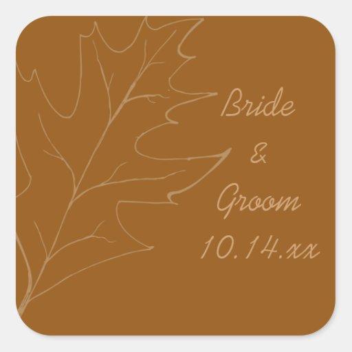 Sello del sobre del cuadrado del boda del otoño de calcomania cuadradas personalizadas