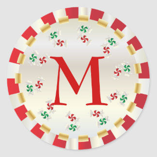 Sello del sobre del monograma de la menta del etiqueta redonda