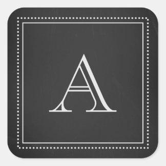 Sello del sobre del monograma de la pizarra pegatina cuadrada
