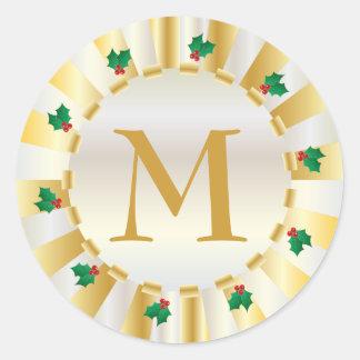 Sello del sobre del monograma del acebo del oro etiqueta redonda