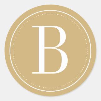 Sello del sobre del monograma del oro pegatina redonda