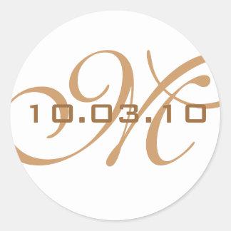 Sello del sobre del monograma pegatina redonda
