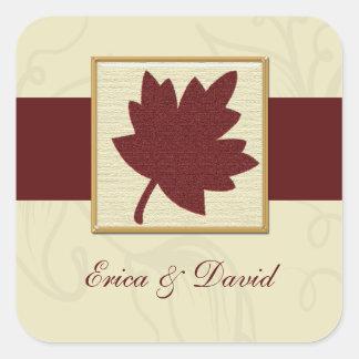 sello del sobre del otoño pegatina cuadrada