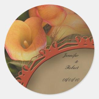 Sello del sobre del ramo del lirio de Cala de la Pegatinas Redondas
