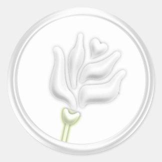 Sello del sobre del rosa blanco pegatina redonda