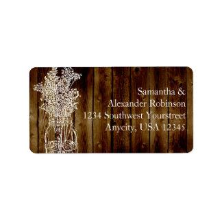 Sello del tarro de albañil en tablón de madera osc etiquetas de dirección