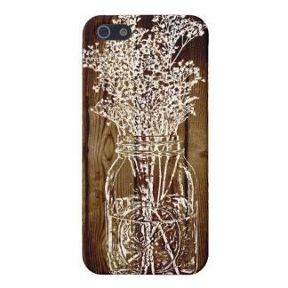 Sello del tarro de albañil en tablón de madera osc iPhone 5 carcasas