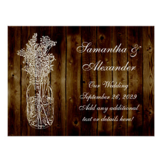 Sello del tarro de albañil en tablón de madera osc póster
