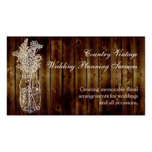 Sello del tarro de albañil en tablón de madera osc tarjeta personal