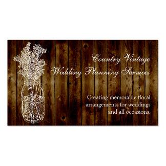 Sello del tarro de albañil en tablón de madera tarjetas de visita