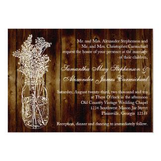 """Sello del tarro de albañil/invitación de madera invitación 5"""" x 7"""""""