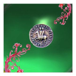 SELLO del verde de jade de los CABALLEROS TEMPLAR Invitaciones Personales