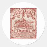 Sello del vintage de Pony Express Pegatina Redonda
